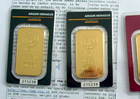 Argor Heraeus Gold Bars sold